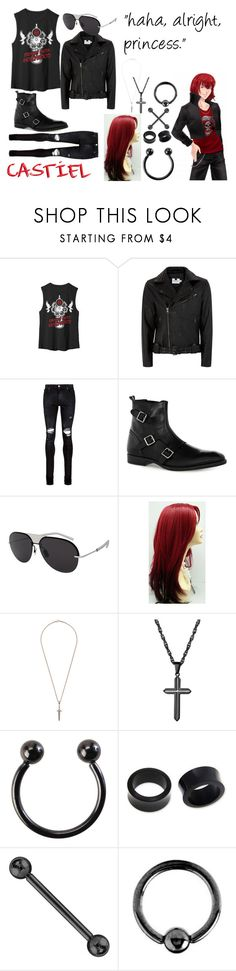 """Castiel"" by heronstairsbro ❤ liked on Polyvore featuring Topman, AMIRI, Christian Dior, Roman Paul, Hot Topic, NOVICA, Urbiana, men's fashion and menswear"