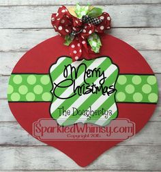 Monogrammed Christmas Ornament Door Hanger Sign by SparkledWhimsy Christmas Pallet Signs, Christmas Wood, Christmas Balls, Christmas Projects, Holiday Crafts, Christmas Holidays, Christmas Ornaments, Xmas, Christmas Ideas