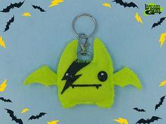 Kawaii Glam Rock Lightning Bolt Plush Bat Keychain & Bag