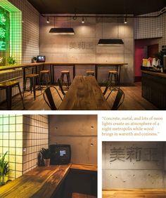 Noodle Restaurant, Cafe Restaurant, Restaurant Design, Mary Wong, Bistro Interior, Interior Design, Ramen Bar, Ramen Shop, Japanese Restaurant Interior