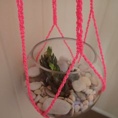 Neon Macrame Plant Hammock by EverybodyLovesSummer on Etsy, $30.00