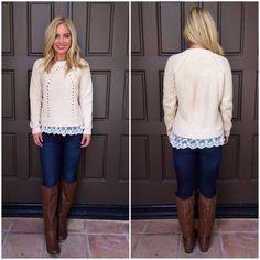 Mallory Scallop Lace Knit Sweater