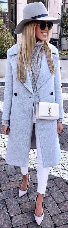 #winter #outfits beige sweater, pastel long jacket, white crop pants, grey hat, heels