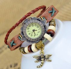 Women watches brown leather watch Dragonfly pendant by IShowIStyle, $13.99
