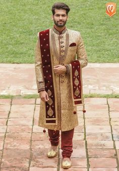 5 Sherwani Trends We Are Currently Loving! Sherwani For Men Wedding, Wedding Dresses Men Indian, Wedding Outfits For Groom, Groom Wedding Dress, Sherwani Groom, Indian Bridal Outfits, Blue Sherwani, Punjabi Wedding, Indian Weddings