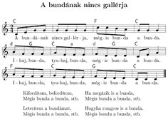 A bundának nincs gallérja Hungarian folk Sheet Music, Entertaining, Songs, Education, School, Winter, Note, Schools, Song Books