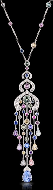 ** Faberge La Lumière d'Été Necklace. This piece is set in 18 carat gold and features 382 multi coloured sapphires and white diamonds totalling 26.8 carats. The pear-shaped sapphire is of 6.28 carats.