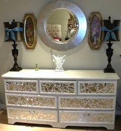 Ms Bingles Vintage Christmas: *Broken Mirror Dresser* with tutorial Diy Mirror Dresser, Dresser With Mirror, Broken Mirror, Decor, Furniture Diy, Furniture, Home Diy, Redo Furniture, Home Decor