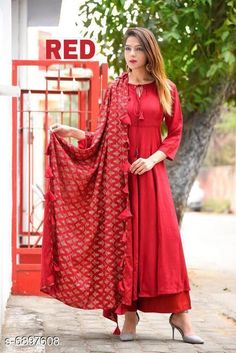 Dupatta Sets Women Rayon Solid Palazzos Dupatta Set Kurta Fabric: Rayon Bottomwear Fabric: Rayon Fabric: Rayon Sleeve Length: Three-Quarter Sleeves Set Type: Kurta With Dupatta And Bottomwear Bottom Type: Palazzos Duppatta Pattern: Gold Printed Ryon With Tassel Multipack: Single Sizes: M (Bust Size: 38 in Kurta Length Size: 48 in Bottom Waist Size: 30 in Bottom Length Size: 40 in Duppatta Length Size: 2 m)  L (Bust Size: 40 in Kurta Length Size: 48 in Bottom Waist Size: 32 in Bottom Length Size: 40 in Duppatta Length Size: 2 m)  XL (Bust Size: 42 in Kurta Length Size: 48 in Bottom Waist Size: 34 in Bottom Length Size: 40 in Duppatta Length Size: 2 m) Country of Origin: India Sizes Available: M, L, XL   Catalog Rating: ★3.9 (468)  Catalog Name: Women Rayon  Solid Palazzos Dupatta Set CatalogID_1101161 C74-SC1853 Code: 906-6897608-9951