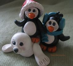 Polymer Clay Seal and Penguins ~ By Trina's Clay Creations