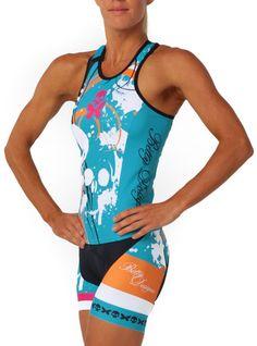 Kick Cancer Tri Top - Betty Designs (Large top, medium shorts)