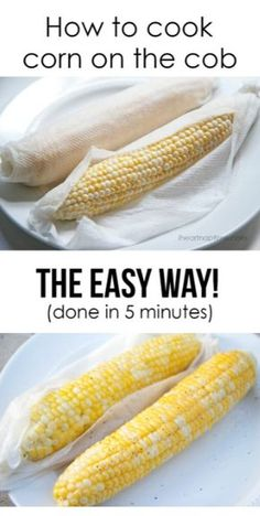culinaryconfessional: Cooking Tip: Corn on the Cob in 5 Minutes Wrap a damp paper towel around an ear of corn, then cook in the microwave for 5 minutes on high heat. Allow to cool slightly, then remove paper towel, then season with butter, salt, and pepper, and enjoy!