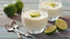 Tropical and fun, this coconut lime panna cotta is a snap to put together making it a great dessert when you are having guests over. Great Desserts, Low Carb Desserts, Dessert Recipes, Dessert Thermomix, Vanilla Panna Cotta, Milk Dessert, Under 100 Calories, Dairy Free, Sweet Tooth