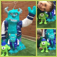 Piñata de Sulley de Monsters Inc y mini piñatas para decoración #pinapinatas #monstersinc #piñata #minipiñatas #bogota