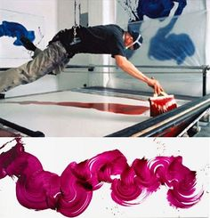To achieve the look, James Nares suspends himself over the canvas in a selfmade harness, and paints one continuous stroke using large brushes he developed himself.
