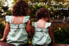 This is a tutorial to make a sweet, summer shirt for your child (or even for you!). This tutorial is based on measurements, not a pattern, so you can scale it up or down as needed. You can even make it into a lovely sundress! Come visit me over at sewinharmony.com to see more pictures and get a bonus tutorial for adding a gathered cuff to a pair of shorts.. You ready to get started? Let's gather materials. You will need: Fabric (about 3/4 yard for a chil...
