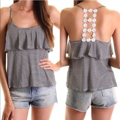 The DAISIE ruffle T back top - BLACK 52% rayon, 43% poly 5% spandex. Adorable striped ruffle top with daisy back design. Show off that beautiful back in this darling piece. ‼️️NO TRADE, PRICE FIRM‼️ Tops
