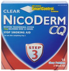 NicoDerm CQ Step 3 Clear Patch, 7 mg, 2-Week Kit (14 patches) - http://www.at-health.com/health-personal-care/health-care/smoking-cessation/nicoderm-cq-step-3-clear-patch-7-mg-2week-kit-14-patches-com/ - #SmokingCessation
