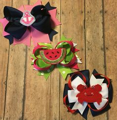 Summer hair bows anchor watermelon crabs boutique bows with felties #bowtifulblessings