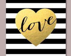 20x20 Modern valentine printable, Black & white stripes print, Valentine print -gold nursery wall art - Faux Gold Foil - INSTANT DOWNLOAD