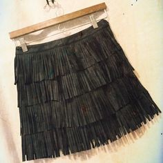 "Faux Leather Fringe Mini Faux leather.. Side zip entry...measured flat:         Waist; 13.5""across...Hips:17"" across.. 15""long 100%polyurethane .. Never worn.. No trades no pay pal.. Forever 21 Skirts Mini"