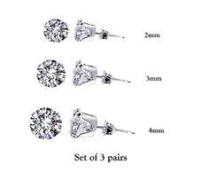 Set of 3 Pairs 925 Sterling Silver Cubic Zirconia Round Stud Earrings. 2mm, 3mm
