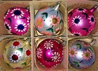 Vintage Poland Hand Painted Mercury Glass Ornaments Large