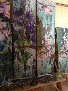 Beautiful botanical printed throws at the shop at Babylonstoren, Stellenbosch, South Africa.