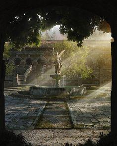 Title: The Courtyard  Artist: Guilherme Henrique  #picoftheday #instagood #digitalart #digitalpainting #fantasy #sweet #ilovefantasyart #cool #inspiring #cgsociety #artstation #omg #best #followme #artwork #art #instadaily #painting #instamood #medieval #love #photography #storytelling