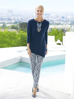 Blue denim jegging blurs the line between ikat and animal prints.