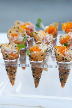 Sesame cones served from a cutout Lucite box were among the offerings. Photo: Alex. J. Berliner © Berliner Studio/BEImages