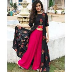 Rayon Kurta With Palazzo Set for Women's Size: M(Bust - inches) L(Bust - inches) Fabric: Rayon Type: Kurta Bottom Set Delivery : Within business days Waist Size: Up to 38 Free size Happy Shopping 🌸🌸🌸 . Indian Gowns Dresses, Indian Fashion Dresses, Indian Designer Outfits, Indian Outfits, Designer Dresses, Fashion Outfits, Party Wear Indian Dresses, Indian Designers, Party Wear Kurtis