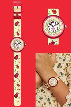 This fun ladybird wrist watch for kids in red and yellow was made with Swiss precision, and is exclusively available online. A great gift for green-fingered garden kids, the MARIQUITA (ZFBNP150) has a printed digital dial circled by gemstones, backed by a sunny yellow that also covers the textile strap. Its transparent plastic case is both shock and water resistant, so you can wash it in the machine at 40°C. Garden Kids, Plastic Case, Rolex Watches, Swatch, Great Gifts, Textiles, Gemstones, Printed, Yellow