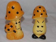Vintage Anthropomorphic Mushrooms Salt & Pepper Shakers Japan in Collectibles, Decorative Collectibles, Salt & Pepper Shakers | eBay