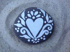 Centered / White Zen series / painted rock / Sandi Pike Foundas / beach stone from Cape Cod