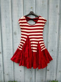 Medium Red Striped Upcycled Ruffled Tunic Top// by emmevielle