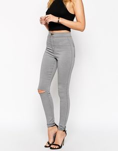 ASOS+Rivington+High+Waist+Denim+Jegging+In+Shadow+Grey+with+Ripped+Knee
