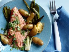 Slow-Roasted Salmon with Potatoes from FoodNetwork.com