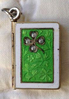 Beautiful-Antique-German-Austrian-Silver-Enamel-Book-Floral-Charm-Exquisite