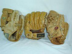 Vtg BASEBALL 3 GLOVES Lot LEATHER Mizuno Rawlings Wilson Harvey Kuenn A2114 Baseball Gloves, Leather, Ebay