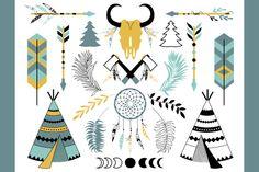 Tribal clip art, skull, feathers by lokko studio on Creative Market