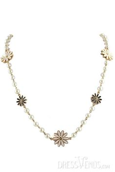 Pearl, Necklace  , $8.99, Fantastic Pearl Chain with Little Black and White Flowers Necklace