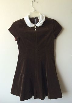Vintage Brown Velvet Peter Pan Collar Girls Dress by Baxtervintage, $30.00