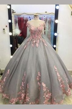 Gray Ball Gown Cap Sleeves Floor-length Pink Lace Appliques Prom Dress,Quinceanera Dresses,