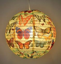 Butterfly Paper Lantern: Found this exact lantern online & hung it over my patio flowers!
