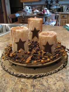 Primitive candles and stars Centerpiece