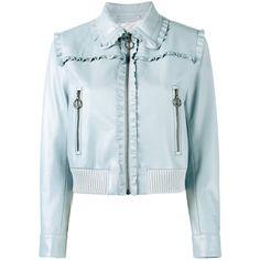 Miu Miu Miu Miu Frill-Trimmed Jacket (20,475 CNY) ❤ liked on Polyvore featuring outerwear, jackets, blue, miu miu, ruffle jacket, blue jackets and miu miu jacket