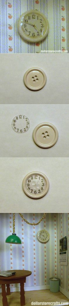 Miniatures, clock, button