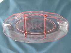 Vintage Jeannette Glass Pink Divided Relish Tray Collectible Depression Glass  Glassware Serving Dinnerware by BitofHope on Etsy https://www.etsy.com/listing/232921557/vintage-jeannette-glass-pink-divided