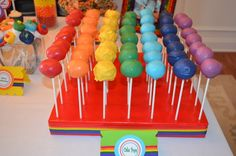 Cake pops at a Rainbow Party #rainbow #partycakepops